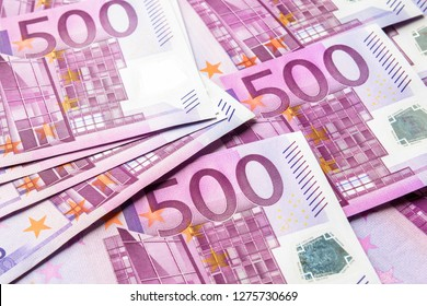 500 euro money banknotes background. Five hundred notes of European Union currency. Stack of euro money cash close-up. Concept of bank, stock and wealth.