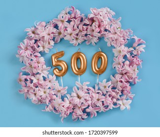 500 followers card. Template for social networks, blogs. Background with pink flower petals. Social media celebration banner. 500 online community fans. five hundred subscriber