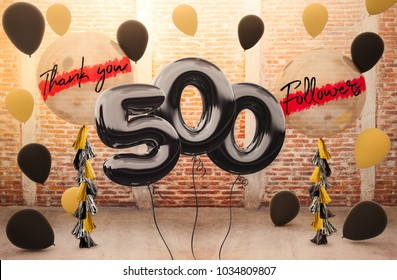 500 followers thank you with brilliant Balloons background. For your Celebration and Appreciation for social Network friends, Web user Thank you or celebrate of subscriber, follower, like
