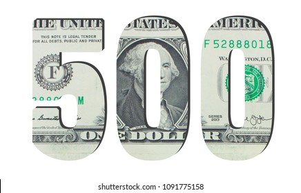500 Number. American dollar banknotes. Money texture. Isolated on white background