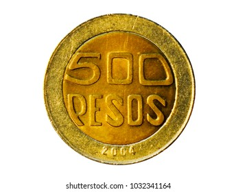 500 Pesos coin. Bank of Colombia. Obverse, 2004