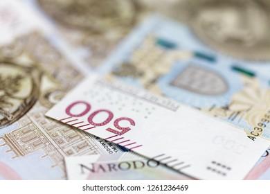 500 PLN banknote macro background
