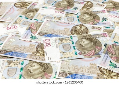 500 PLN banknotes background