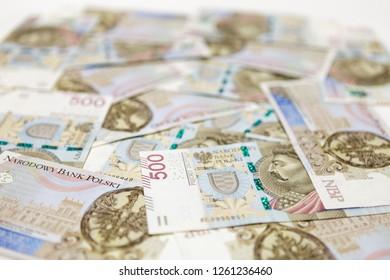 500 PLN banknotes background
