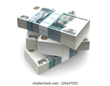 500 russian  rubles bills. Clipping path included.