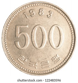 500 south korean wons coin isolated on white background