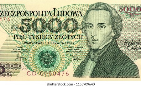 5000 Polish zloty bank note. Zloty is the national currency of Poland. Close Up UNC Uncirculated - Collection.