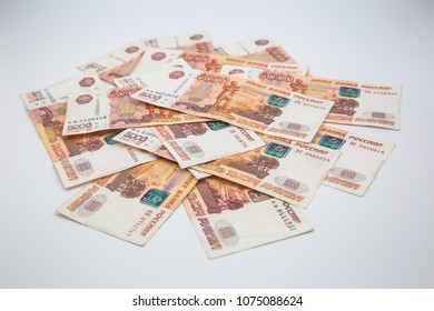 5000 Russian rubles banknotes isolated on white
