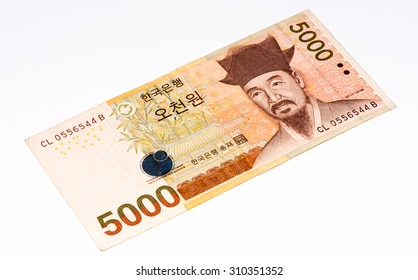 5000  South Korea won bank note. Won is the national currency of the South Korea