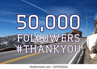 50000 followers sign - social media milestone thank you banner. Online community note. 50k likes.