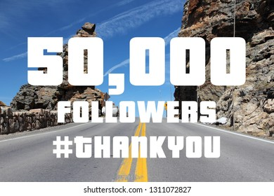 50000 followers - social media milestone banner. Online community thank you note. 50k likes.