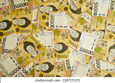 50000 Korean won banknotes background