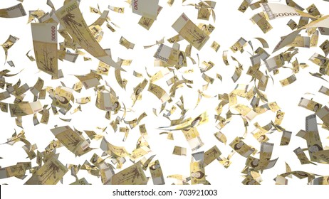 50000 South Korean Won (KRW), Korea Money banknotes flying Isolated on white background, 3D Rendering