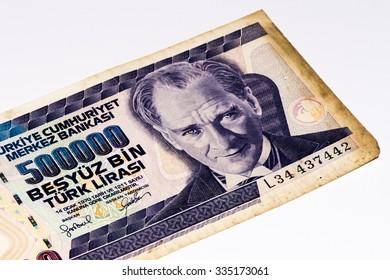 500000 Turkish liras bank note. Turkish lira is the national currency of Turkey