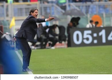 5.05.2019. Stadio Olimpico, Rome, Italy. Serie A. SIMONE INZAGHI (LAZIO COACH) in action during the match Italy Serie A league, SS LAZIO VS ATALANTA  at Stadio Olimpico in Rome.