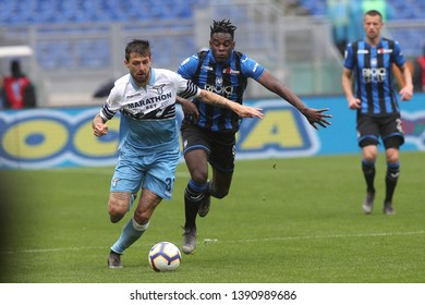 5.05.2019. Stadio Olimpico, Rome, Italy. Serie A. FRANCESCO ACERBI AND DUVAN ZAPATA in action during the match Italy Serie A league, SS LAZIO VS ATALANTA  at Stadio Olimpico in Rome.