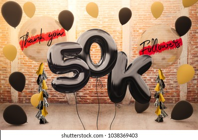 50k or 50,000 followers thank you with brilliant Balloons background. For your Celebration and Appreciation for social Network friends, Web user Thank you or celebrate of subscriber, follower, like