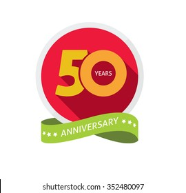 50th anniversary logo template with shadow on circle number 5 (five). 50 years icon. Fiftieth years birthday party symbol. fiftieth anniversary holiday, sticker, badge, ribbon, poster emblem tag iamge