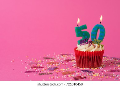 50th Birthday cupcake pink background