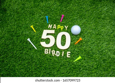50th Birthday for golfer with golf ball and tee on green grass