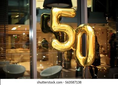 50th Birthday Metallic Gold Festive Cellophane Balloons