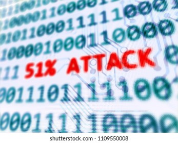 51% attack on blockchain security vulnerability 3D render with depth of field