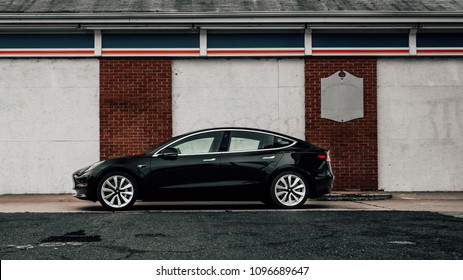 5/12/18 - Atlantic Highlands,NJ - The all new Tesla Model 3 photographed at a dead gas station.  Side view.