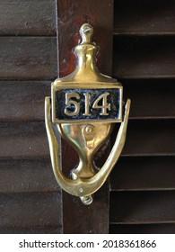 514 Golden Door Knocker, Closeup Apartment Door