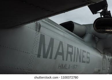 5/28/18- New York,NY - In New York City, the Navy has arrived.  It's fleet week on board the USS Arlington. Marines helecopter rear.