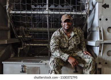 5/28/18- New York,NY - In New York City, the Navy has arrived.  It's fleet week on board the USS Arlington. A sailor on board a LCAC hovercraft.