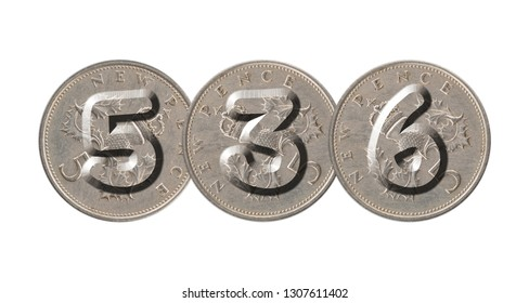 536 written with old British coins on white background