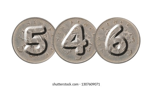 546 written with old British coins on white background