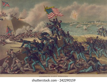 54th Massachusetts Volunteer Infantry, an African American infantry in the Union Army, assaulting Fort Wagner on July 18, 1863.