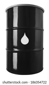 55 Gallon Black Oil Drum  With Drop Symbol Isolated on White Background.
