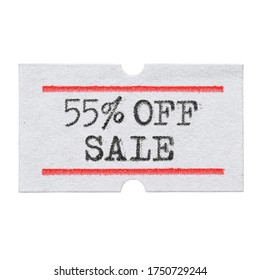 55 % OFF Sale printed with typewriter font on price tag sticker isolated on white background