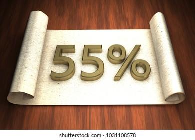 55 per cent, golden numbers, over open paper, 3d rendering