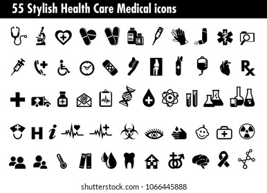 55 Stylish Medical Healthcare Icons Set, Symbols relating to pharmacy business, drugstore and science, for use in your products and presentations. - Raster Version