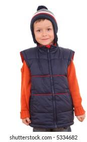 5-6 years old boy in waistcoat - autumn portrait