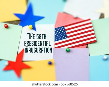 The 58th Presidential Inauguration Day On January 20, 2017. Americans celebrate the newly elected US President card