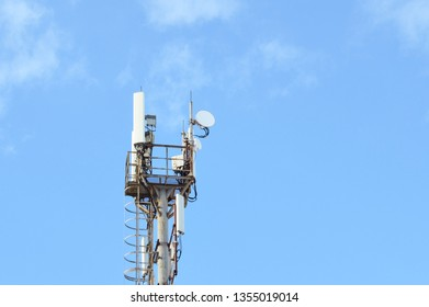 5G, 4G, 3G, EDGE, GPRS smart mobile telephone radio network GSM antenna with copy space. Concept telecommunication