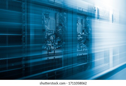 5G fiber Mobile internet, Communication technology for internet of things business. cellular server equipment blur in motion. Concept of high-speed data and voice transmission technologies in modern