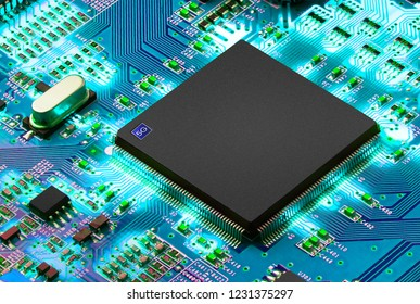 5G Mobile chip on computer board background. space for text.