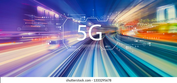 5G network with abstract high speed technology POV motion blur