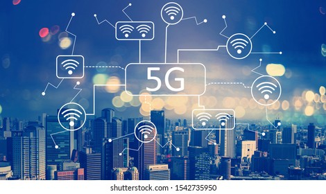 5G network with aerial view of city skylines at night