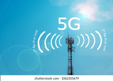 5G Network Connection Concept-5G smart cellular network antenna base station on the telecommunication mast