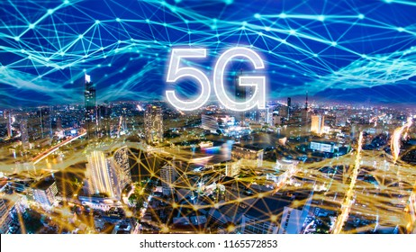 5G network digital hologram and internet of things on city background.5G network wireless systems.