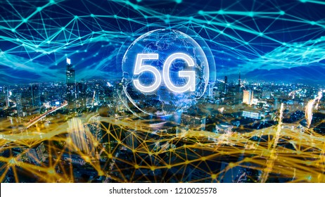 5G network digital hologram and internet of things on city background.