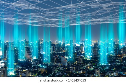 5G network digital hologram and internet of things on city background.5G network wireless systems.IoT(Internet of Things), ICT(Information Communication Technology),communication network concept.
