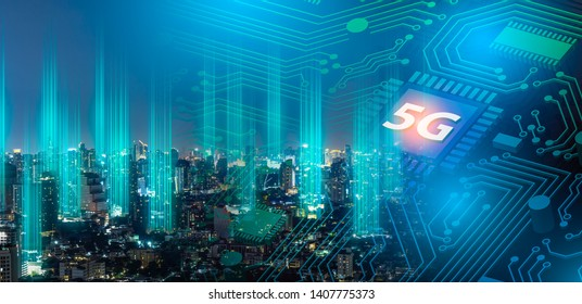 5G network digital hologram and internet of things on city background.Double exposure city of cpu 5g.5G network wireless systems,IoT(Internet of Things),communication network concept.