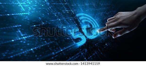 Concepto de empresa inalámbrica móvil de Internet de 5G Network